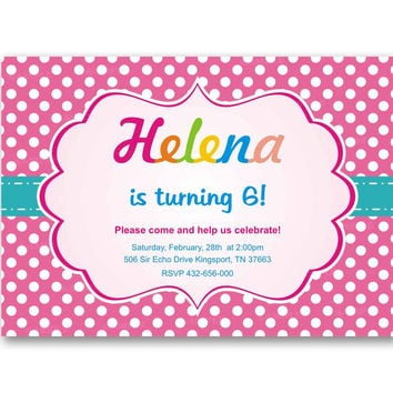 Polka Dot Pink Girl Teal Colorful Kids Birthday Invitation Party Design