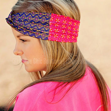 TURBAN HEADBAND RED FLOWERS/PURPLE DIAMOND