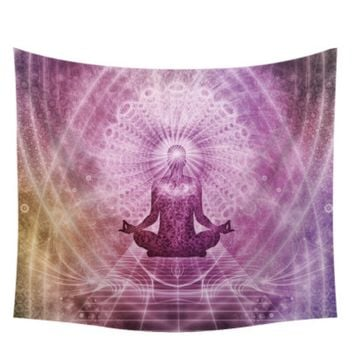 Pink Buddha Boho Themed Wall Tapestry Sheet