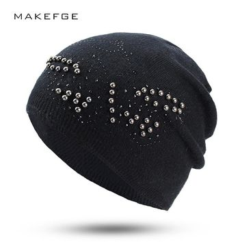 80% fine wool content winter ladies thickened knitted hat decoration rhinestone fashion casual hat girl warm Beanies Thick Warm