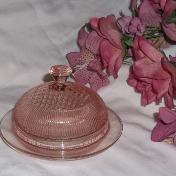 Pink Depressin Glass, Jeannette HOMESPUN Butter Dish with Cover