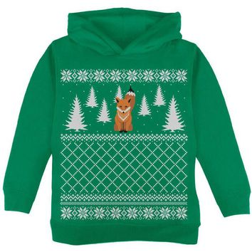 DCCKJY1 Fox Ugly Christmas Sweater Green Toddler Hoodie