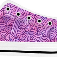 Neon pink and purple swirls doodles White Low Tops