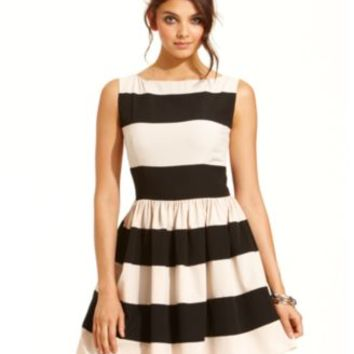 B Darlin Juniors Dress, Sleeveless Striped A-Line | macys.com
