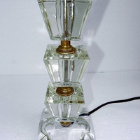 Vtg Clear Glass Bedside Art Deco Table Lamp - No Shade - 3 piece glass body on clear base