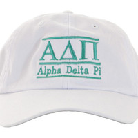 Alpha Delta Pi White Bar Hats, ADPI Hats, Sorority Embroidered Hats