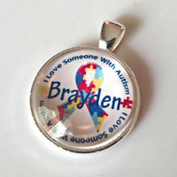 Autism personalized name necklace. Autism awareness jewelry, autism necklace, autism gifts for mom. Autism handmade gifts