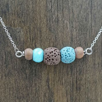 Brown and Blue Aromatherapy Necklace Essential Oil Diffuser Necklace