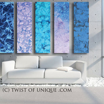 HUGE Abstract Painting, - OVERSIZED 5 panel CUSTOM Abstract Wall art, Large contemporary Painting - Winter colors, Blue, purple, white