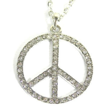 Crystal Peace Sign Necklace Flower Power Hippie NK24 Anti War Silver Tone Sparkle Pendant Fashion Jewelry