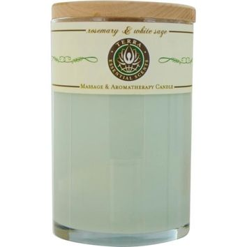 ROSEMARY & WHITE SAGE by Rosemary & White Sage MASSAGE & AROMATHERAPY SOY CANDLE 12 OZ TUMBLER. A STIMULATING & WARMING BLEND WITH MOSS AGATE GEMSTONE. BURNS APPROX. 30+ HOURS