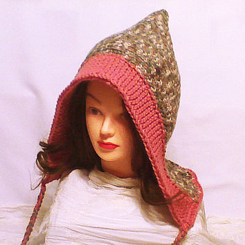 Knit pixie hat, hat with ties, women crochet pixie, pixie hood, women bonnet, knit elf hat, pixie cap, knitted hoodie, hooded hat by VT