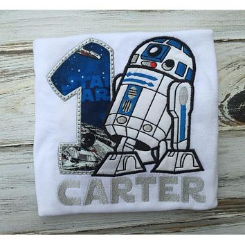 R2D2 1st Birthday shirt or Onesuit