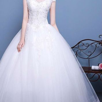 Organza Scoop Neck Cap Sleeve Long Wedding Dresses Appliques Beading Lace UP Ball Gown Wedding Gowns