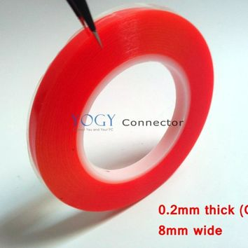 1x (0.2mm Thick) 8mm *25M Strong Bond Double Sided Clear Duct Tape with Red Film for Tablet Mini Pad Display Glass Bond