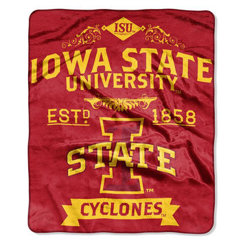 Iowa State Cyclones NCAA Royal Plush Raschel Blanket (Label Series) (50x60)