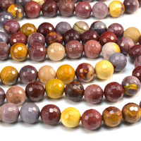 mookaite, faceted round, multi color, 6-12mm, natural gemstone bead, semiprecious stone bead, stone bead, jewelry making, loose bead--15inch