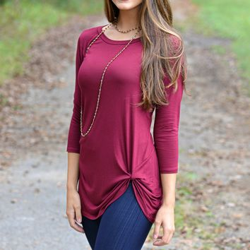 Simply Twisted Burgundy Top
