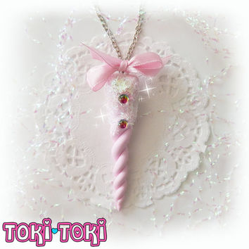 Pink Pastel Unicorn Horn Necklace Pastel Goth Jewelry Magic Unicorn Kawaii Jewelry Polymer Clay Unicorn Sweet Lolita Fairy Kei Accessoriy