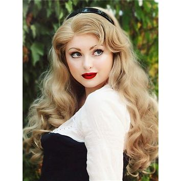 Long Dark Ash Blonde Wave Synthetic Lace Front Wig
