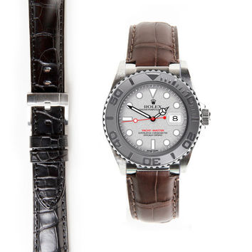 Everest Steel End Link Alligator Embossed Strap with Tang Buckle for Rolex Yacht-Master