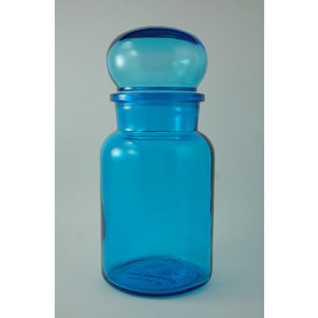 Vintage Blue Glass Canister, Bubble Top Lid, 8.75 Inch Tall, Made in Belgium, Cobalt Glass Apothecary Jar