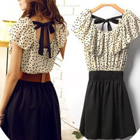 A 071119 lovely dress with polla dot belt bow