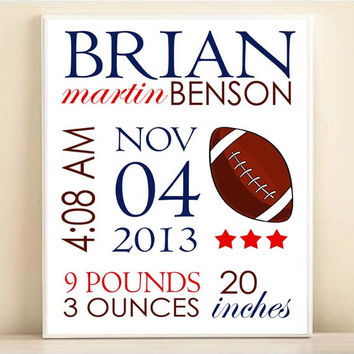 Nursery Art Football Birth Stats & Name Baby Boy Sports Art Print: Custom Personalized 8x10 or 11x14 Poster in Navy Blue, Red, Brown