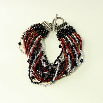 Black and Silver Multistrand Bracelet, Gypsy Jewelry, Beaded, Multi Strand, Swarovski Crystal, Rust, Boho, Bead Woven