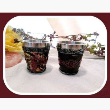 """Vibrant"" Red Dragon Shot Glass Set"