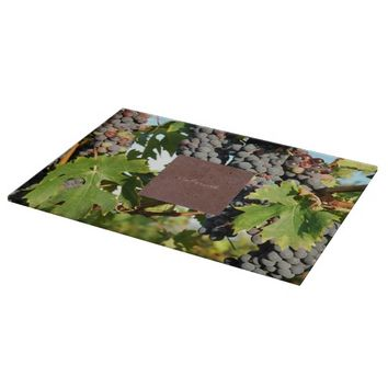Wine Grapes On Vine Cutting Board