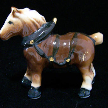 Miniature Clydesdale Draft Horse Figurine, Hand Painted, Made in Japan 218