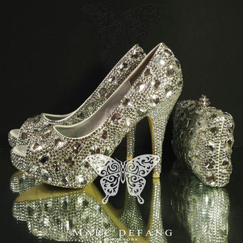 Ultimate Luxury Diamond Frost Clear Crystals Peep Toe Heels & Clutch Bag Set