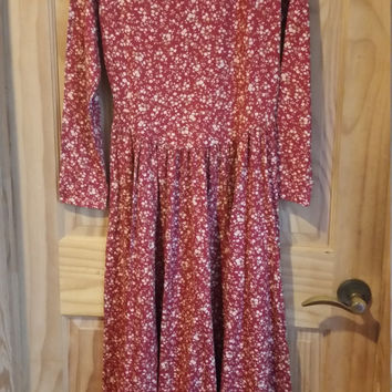 Vintage Laura Ashley Romantic 80s Floral Print Made in Great Britain Dress Size US 8 UK12 EU 36