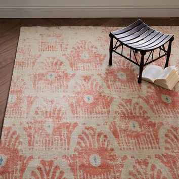Distressed Floating Ikat Wool Rug - Guava