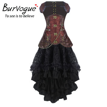Burvogue Women Steampunk Corset Dress High Waist Skirts Waist Control Corset and Mermaid Skirt Dress Set Steampunk Corset Dress