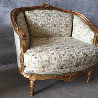 French Corbeille Marquise Settee Bergere Louis XVI Very Sturdy (2 Available) Napolean III Rococo Baroque Refinished Gold Leaf & New Fabric