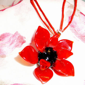 Large Red & Black Glass Flower Necklace with Red Silk Ribbon. Flower Necklace. Statement Jewelry. Ribbon Necklace. Jewery Sale.