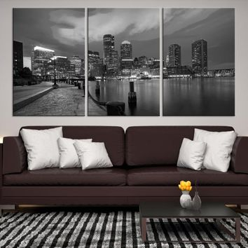 89075 - Boston City Decorative Wall Art Canvas Print - Boston Skyline, Boston, Boston Canvas, Boston Wall Art, Canvas Print, Boston Print, Wall Art,