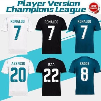 VLXZRBC 2018 Champions League Player Version Soccer Jersey 2017/18 Real Madrid Home Away 3rd S