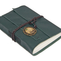Green Leather Journal with Cameo Bookmark - Ready to Ship