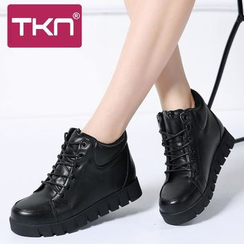 TKN 2017 boots women winter women leather ankle boots warm lace up woman snow boots woman plush fur yellow work boots N9060
