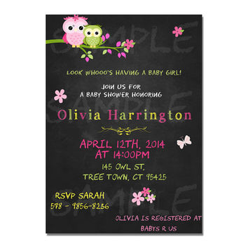 Chalkboard owl invitation - owl birthday invitation - owl invite - chalkboard birthday invitation - owl baby shower invitation