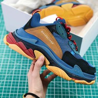 Balenciaga Triple S Trainers Sneaker Blue Oversized Multimaterial Sneakers With Quilted Effect - Best Online Sale