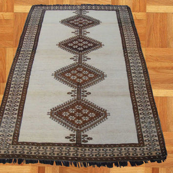 Handmade taimani tribel design Crapets, natural wool color,40year old, Kilim, handwoven rugs 100% Wool,Vintage handmade rugs
