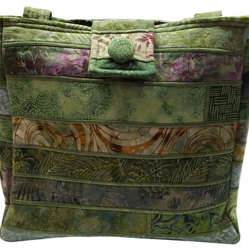 Large Batik Purse in Green Fabrics