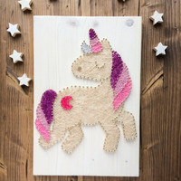 Colorful unicorn wall decor