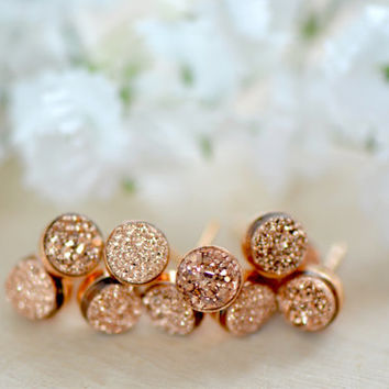 Bridesmaid Gift - Set of 3, 4, 5, 6, 7 or 8 - Tiny Rose Gold Druzy Studs - Druzy Bezel Studs - Rose Gold Earrings - Wedding Party Jewelry