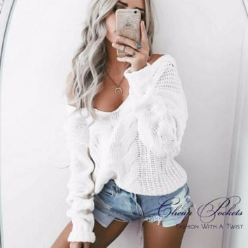 White Deep V Neck Sweater