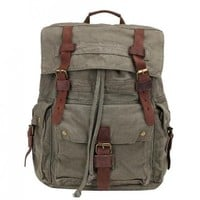 Retro Canvas Leather Casual Travel Hiking Daypack School College Laptop Backpack